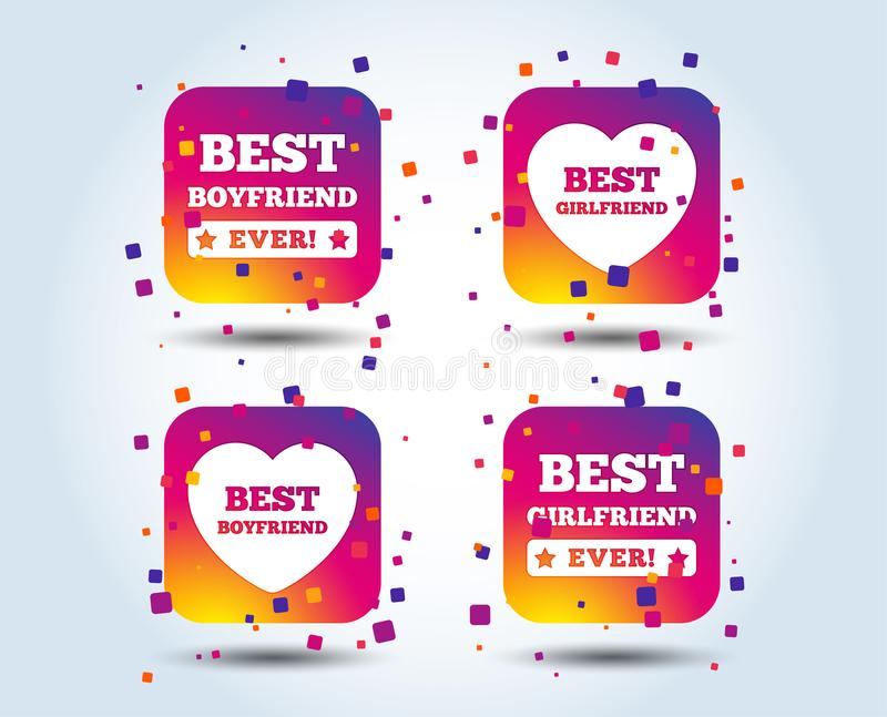 Best boyfriend and girlfriend icons. royalty free illustration