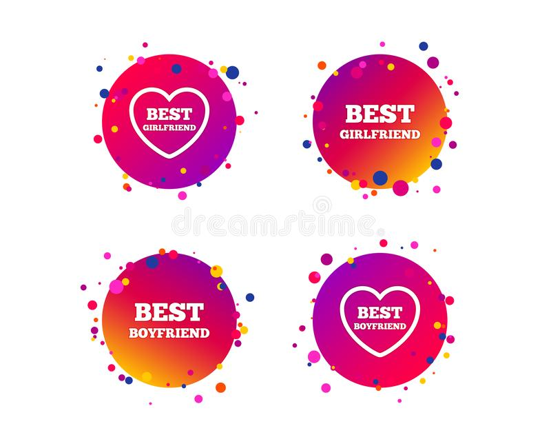 Best boyfriend and girlfriend icons. Vector royalty free illustration