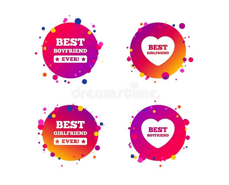 Best boyfriend and girlfriend icons. Vector. Best boyfriend and girlfriend icons. Heart love signs. Award symbol. Gradient circle buttons with icons. Random dots stock illustration