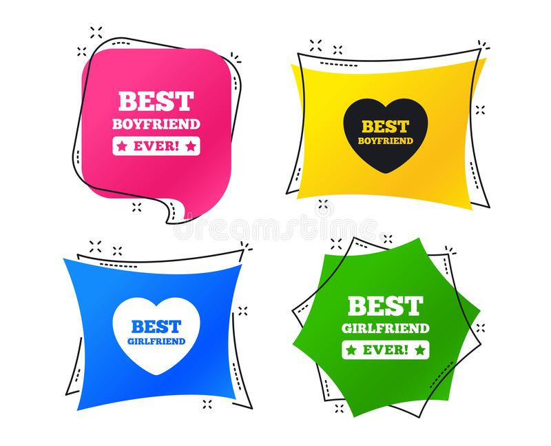 Best boyfriend and girlfriend icons. Vector vector illustration
