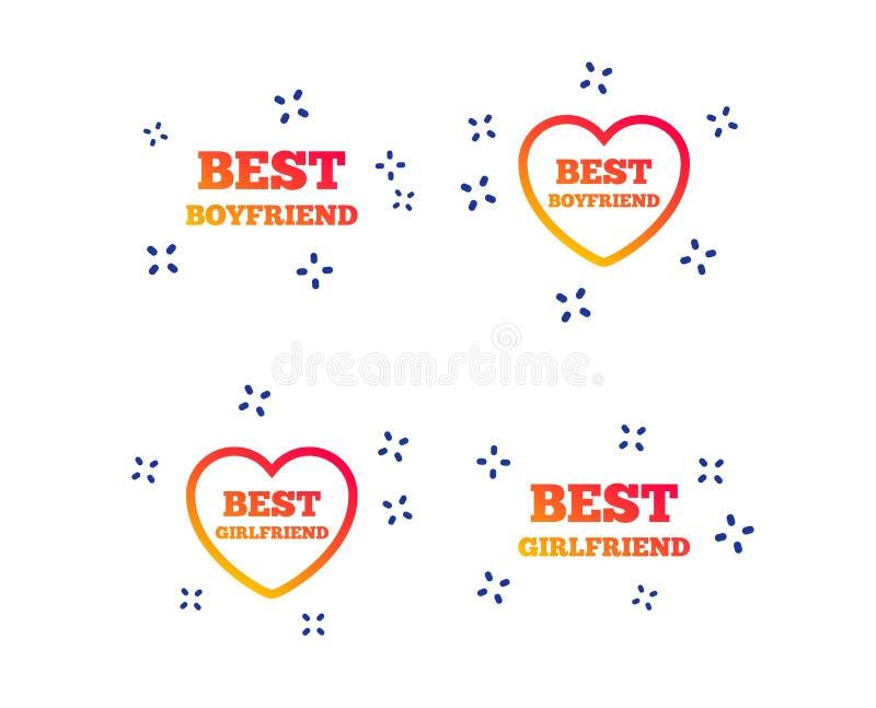Best boyfriend and girlfriend icons. Vector. Best boyfriend and girlfriend icons. Heart love signs. Award symbol. Random dynamic shapes. Gradient boyfriend icon royalty free illustration