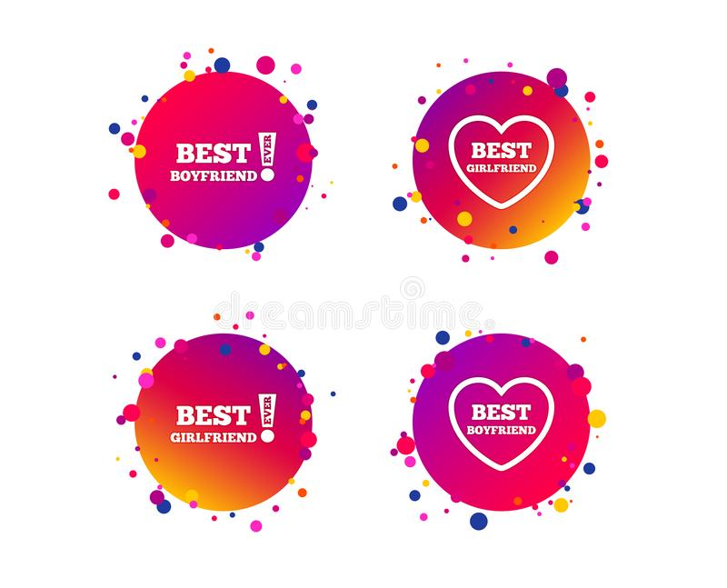 Best boyfriend and girlfriend icons. Vector stock illustration