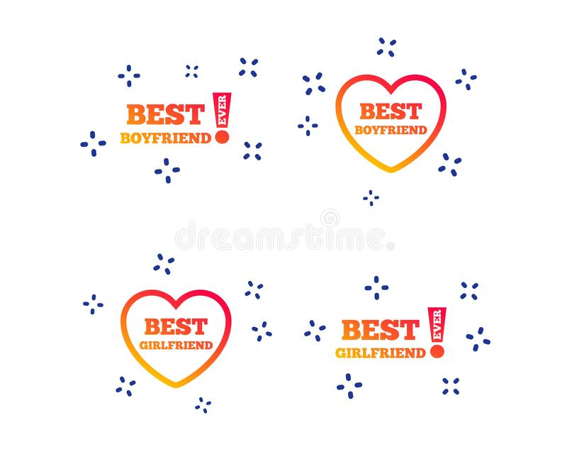 Best boyfriend and girlfriend icons. Vector. Best boyfriend and girlfriend icons. Heart love signs. Awards with exclamation symbol. Random dynamic shapes royalty free illustration