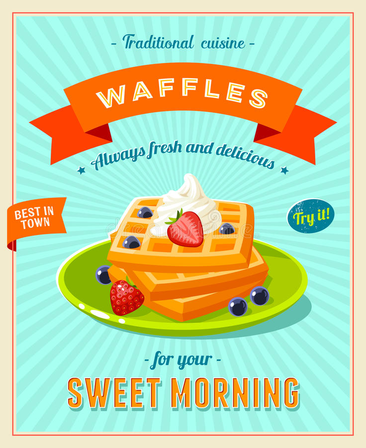 Best breakfast - vintage restaurant sign. Retro styled poster with pile of waffles. Best breakfast - vintage restaurant sign. Retro styled poster with pile of stock illustration