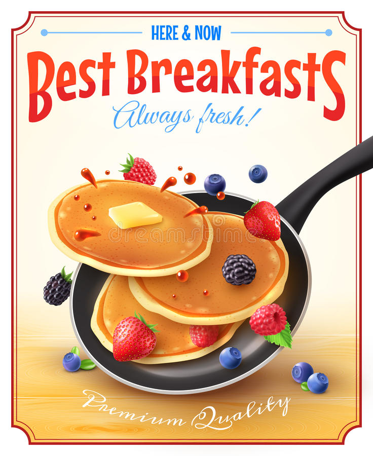 Best Breakfasts Vintage Advertisement Poster. Premium quality restaurant breakfasts vintage style advertisement poster with frying pan pancakes berries and stock illustration