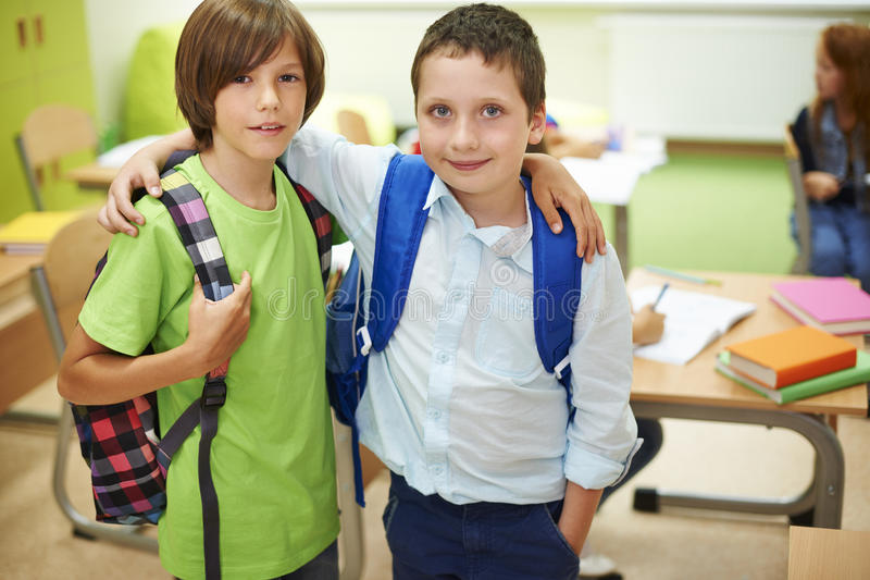Best buddies in the classroom stock photography