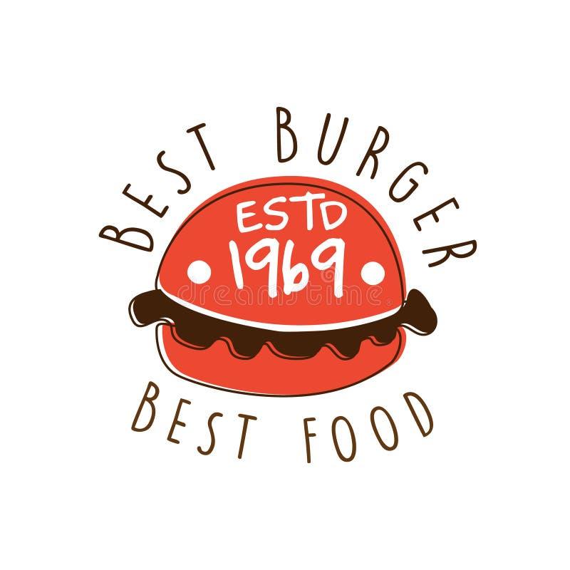 Best burger, best food estd 1969 logo template hand drawn colorful vector Illustration stock illustration