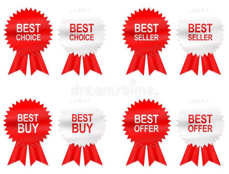 8 Best Buy, escolha, oferta e etiquetas do vendedor com fita ilustração royalty free