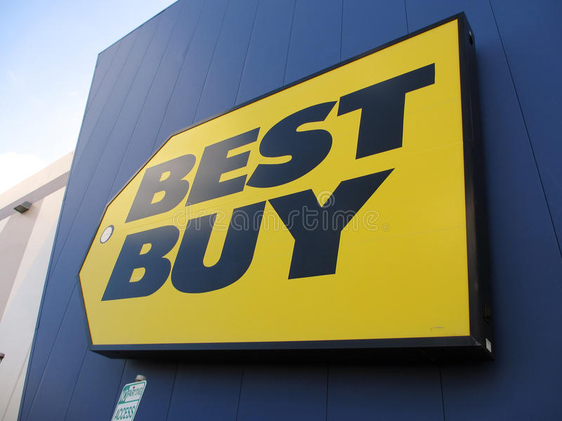 Best Buy store sign. HONOLULU - AUGUST 12: Best Buy store sign. Best Buy is an electronics retailer accounting for 19% of the U.S. market. August 12, 2012 stock photos