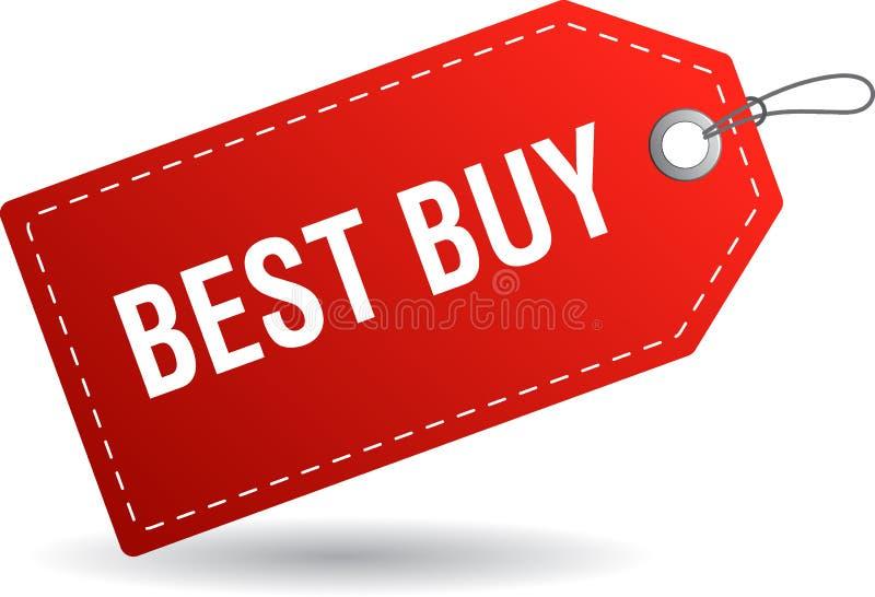 Best Buy Tag-Aufkleberrot lizenzfreie abbildung