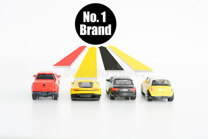 Best car seller concept with toys and up arrows. Best car seller concept with toy cars and up arrows stock photos