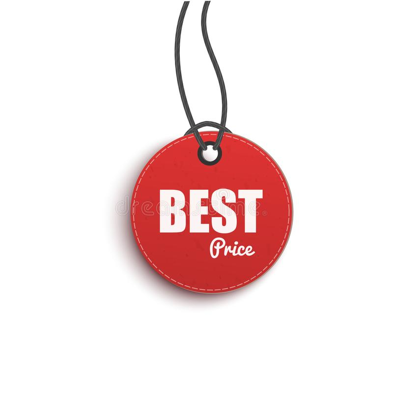 Best choice circle paper price red hanging tag, 3d vector illustration isolated. royalty free illustration