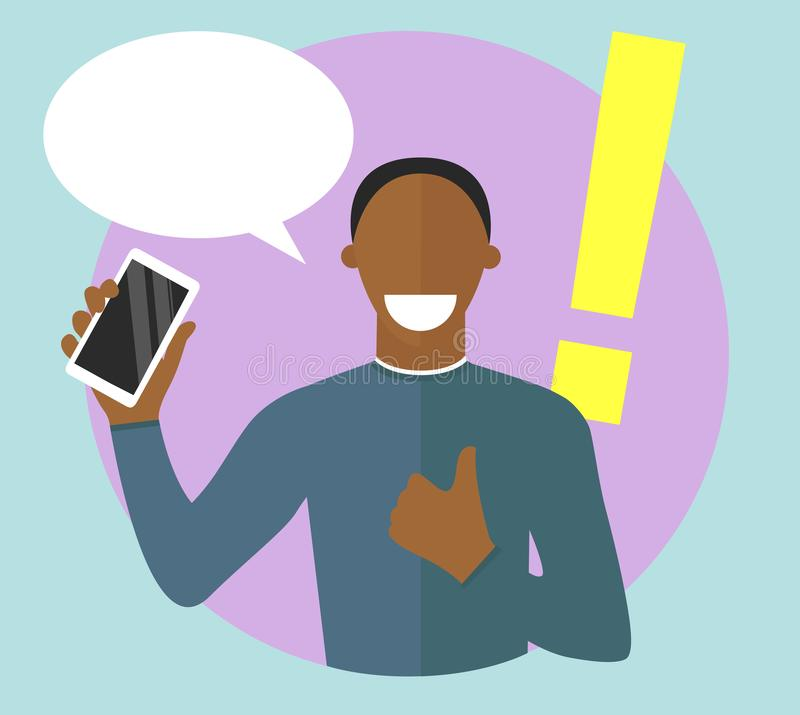 Best choice concept illustration. Sure character. Confident, satisfied black man. Choosing smartphone conception. Mobile phone stock illustration