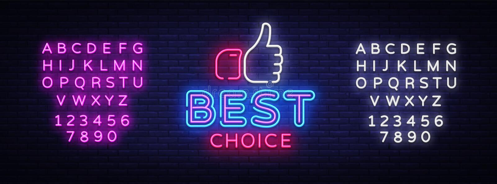 Best Choice neon sign vector. Best Choice Design template neon signboard, light banner, neon signboard, nightly bright vector illustration