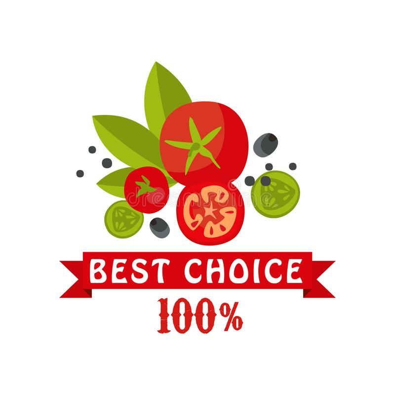Best choice, 100 percent, badge for healthy food, fresh products, farmer market, restaurant, cafe, packaging colorful. Vector Illustration on a white background royalty free illustration