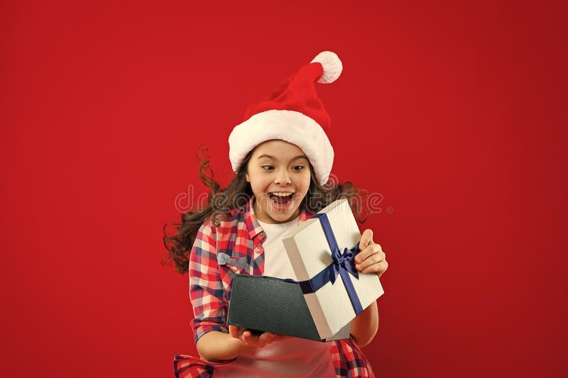 The best Christmas present. Happy winter holidays. Small girl. Present for Xmas. Childhood. New year party. Santa claus stock photos