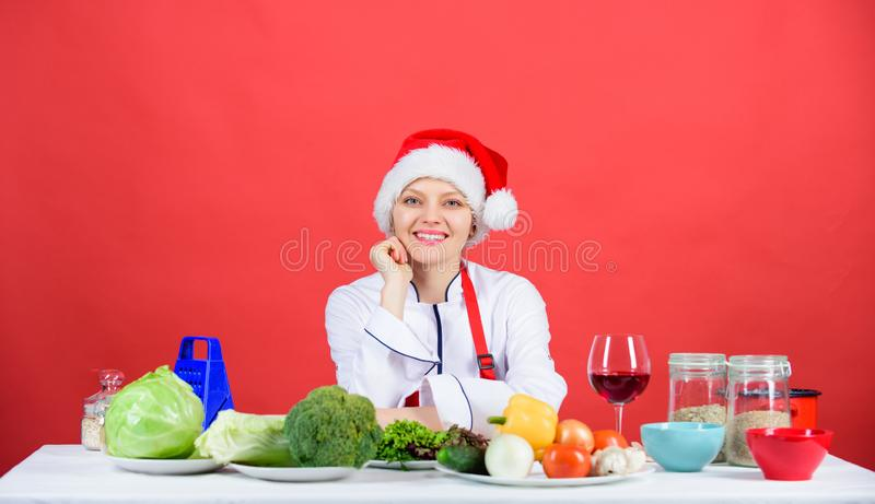 Best christmas recipes of perfect housewife. Christmas dinner idea. Cooking for family. Healthy christmas holiday. Recipes. Easy ideas for christmas party royalty free stock image