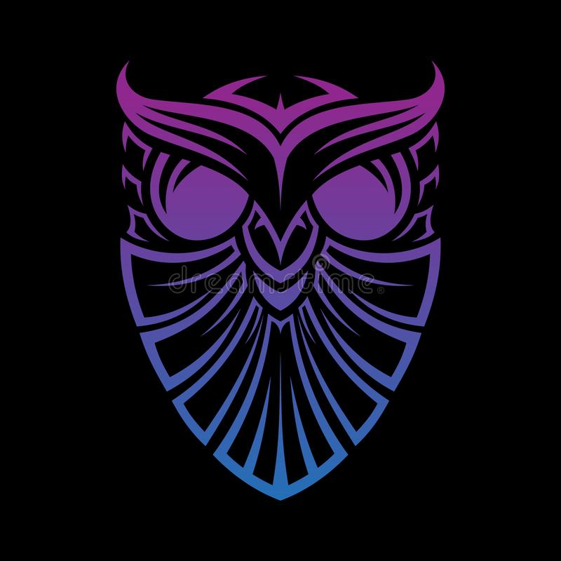 Best of the best creative graphic shield owl line art template tribal technology vector concept design stock illustration