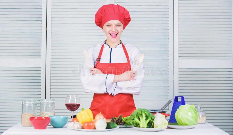Best culinary recipes to try at home. Lady adorable chef teach culinary arts. Professional culinary tips. Culinary show. Concept. Woman pretty chef wear hat and royalty free stock photography
