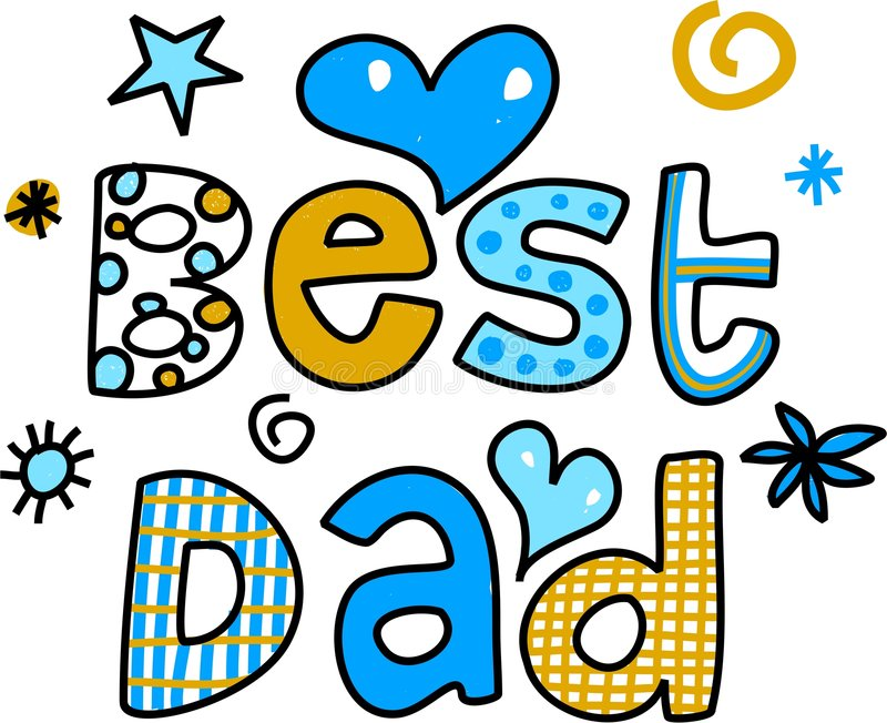 Best dad. Ornamental whimsical best Dad text message isolated on white vector illustration