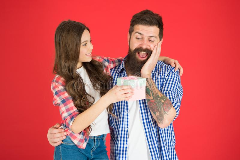 For best dad ever. Celebrate fathers day. Family values concept. Friendly relations. Father hipster and his daughter. Gift surprise. Man bearded father and stock photos