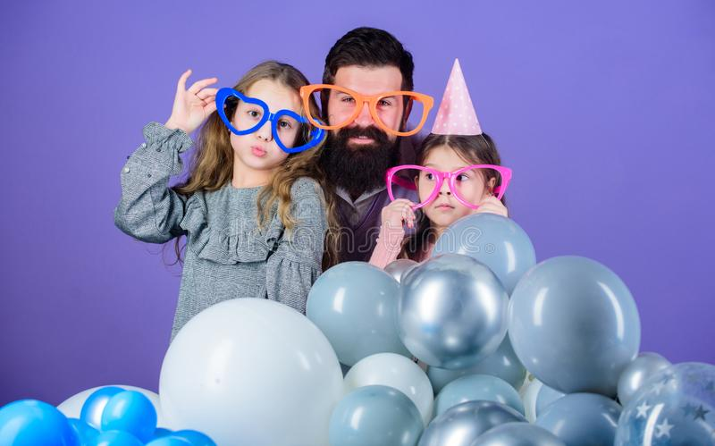 Best dad ever. Friendly family wear funny party accessories. Fathers day. Daughters need father actively interested in. Life. Birthday party. Father with two royalty free stock images