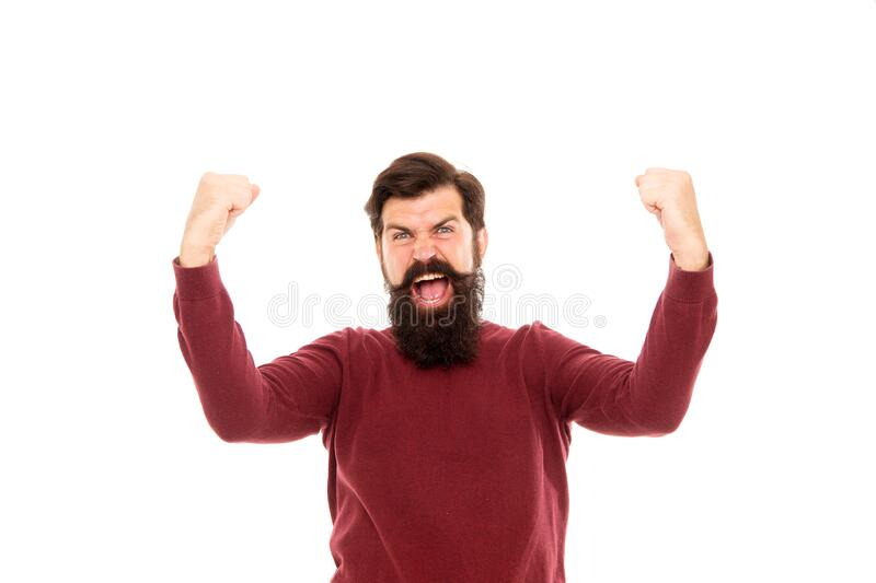 Best day of my life. male after barbershop. excited hipster with beard. hair fashion and beauty. brutal mature man. Expressing happiness. human facial emotions stock images