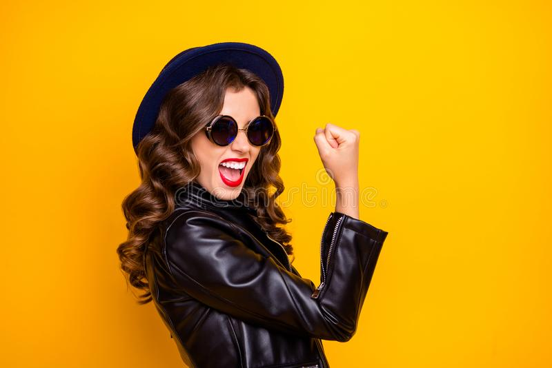 Best day on my life. Profile photo of crazy lady celebrating lottery winning wear casual trendy outfit isolated yellow. Best day on my life. Profile photo of stock photo