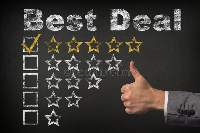 Best deal five 5 star rating. thumbs up service golden rating stars on chalkboard.  stock images