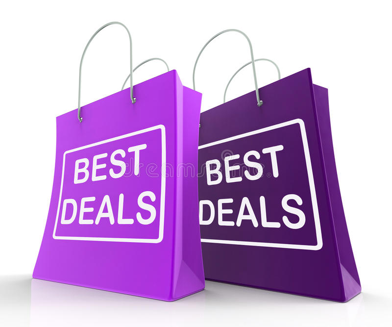 Best Deals Bags Represent Bargains and Discounts. Best Deals Bags Representing Bargains and Discounts royalty free illustration