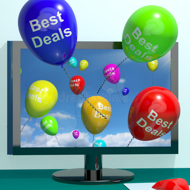 Best Deals Balloons From Computer Representing Bargains Or Disco. Best Deals Balloons From Computer Representing Bargains And Discounts Online stock illustration
