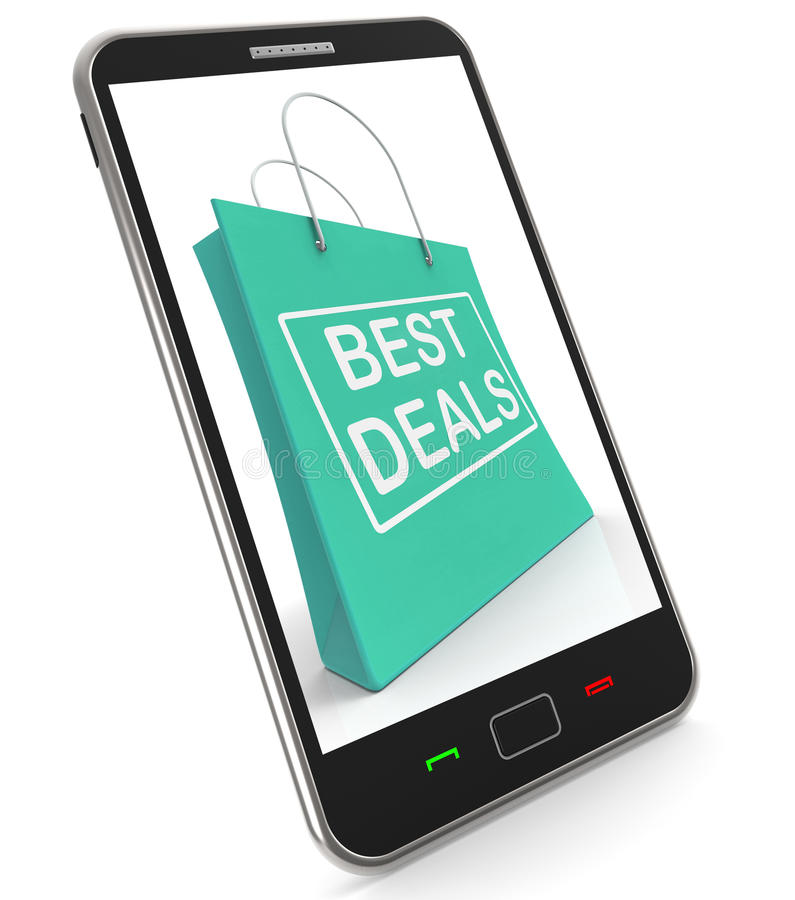 Best Deals On Shopping Bags Shows Bargains Sale And Save. Best Deals On Shopping Bags Showing Bargains Sale And Save royalty free illustration