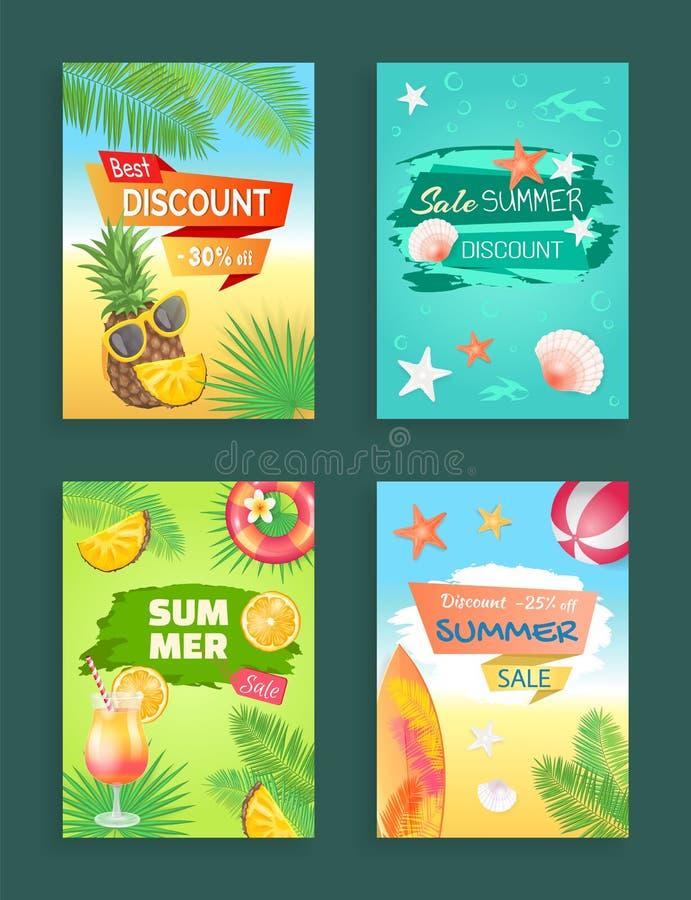 Best Discount Summer Sale Vector Illustration stock illustration