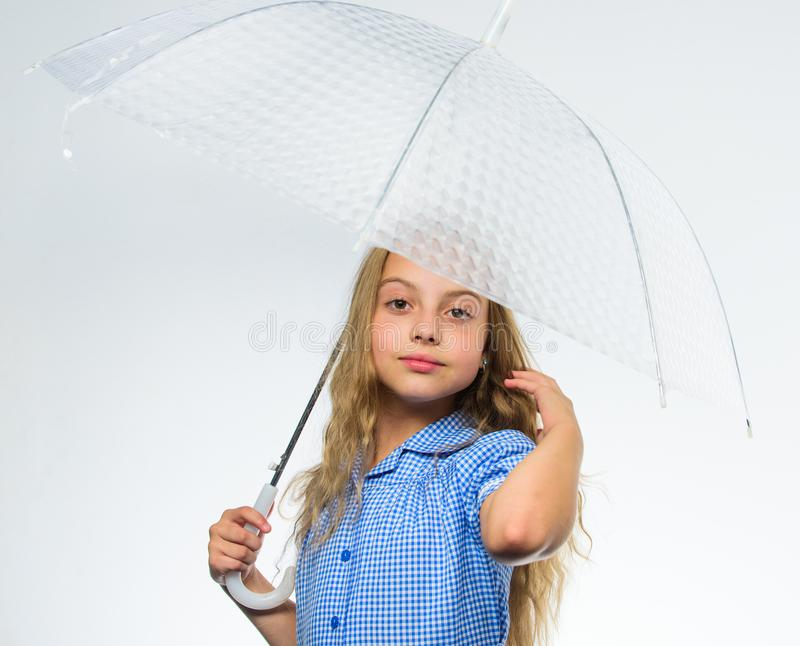 Best fall accessory concept. Enjoy rainy days with umbrella accessory. Enjoy fall weather. Fall rainy pleasant weather. Girl child ready meet fall weather with royalty free stock images