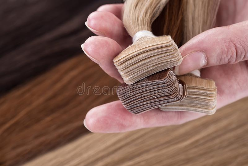 Best false hair. Hair for hair extension. stock photo