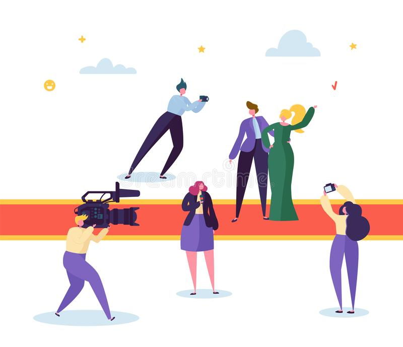 Best Film Award Festival Red Carpet Concept. Famous Beautiful Actor Male and Female Character Posing for Photo. Correspondent. With Camera Remove Live Stream vector illustration
