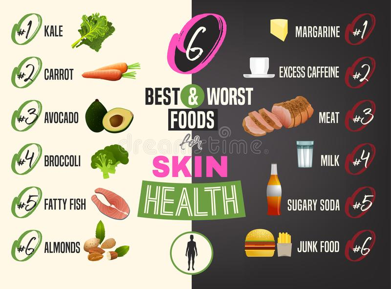 Best Food For Skin Stock Vector Illustration Of Excess 117649828