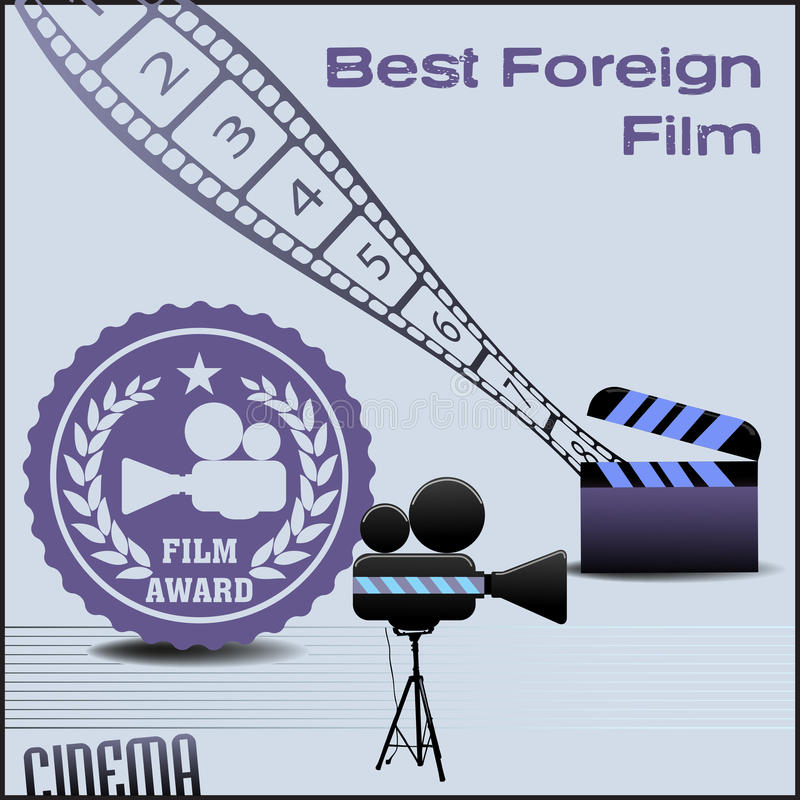 Best foreign film. Abstract colorful background with film projector, film reel and clapboard. Best foreign movie concept stock illustration
