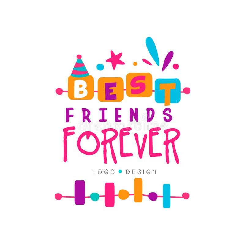 Best friend forever logo template with lettering. Friendship theme. Vector design for invitation, postcard, print or. Best friend forever logo template with royalty free illustration