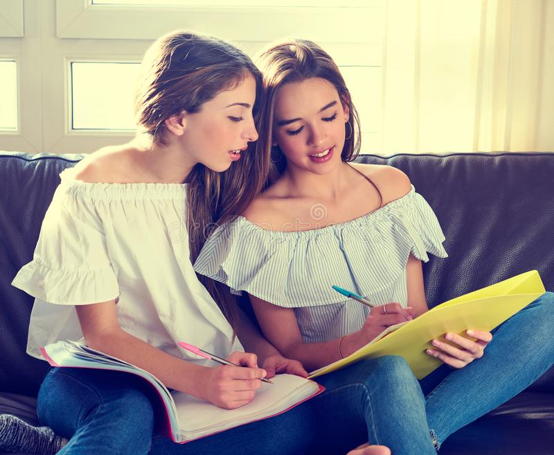 Best friend girls studying homework at home stock photography