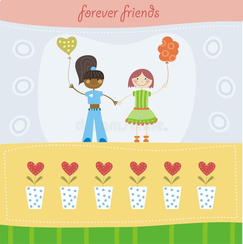 Download Best friends stock vector. Image of balloon, dress, backdrop - 20317947