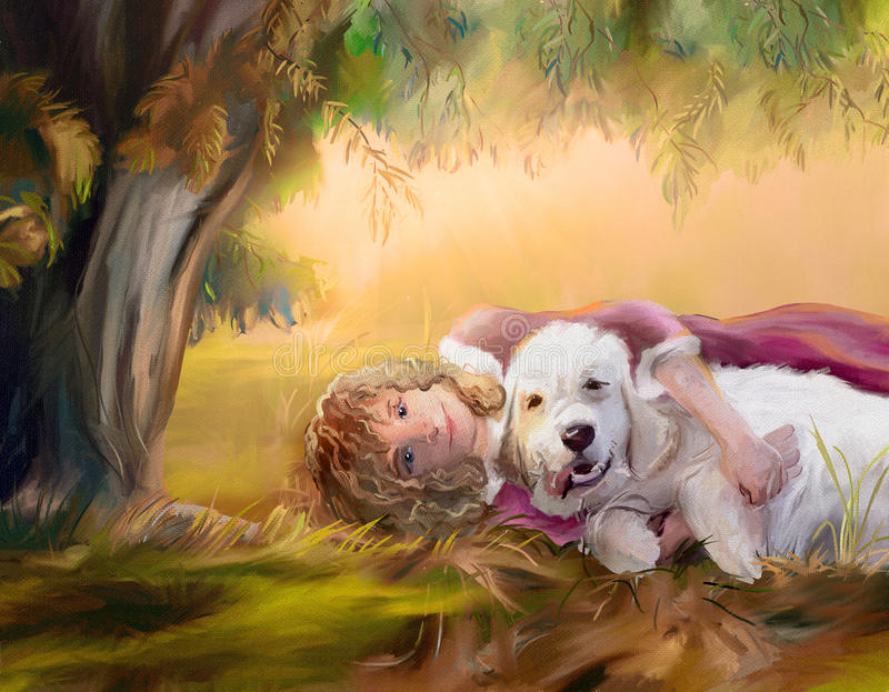 Best friends. Happy girl with golden retriever lying under willow in autumn park. Digital hand drawing simulated oil paintng