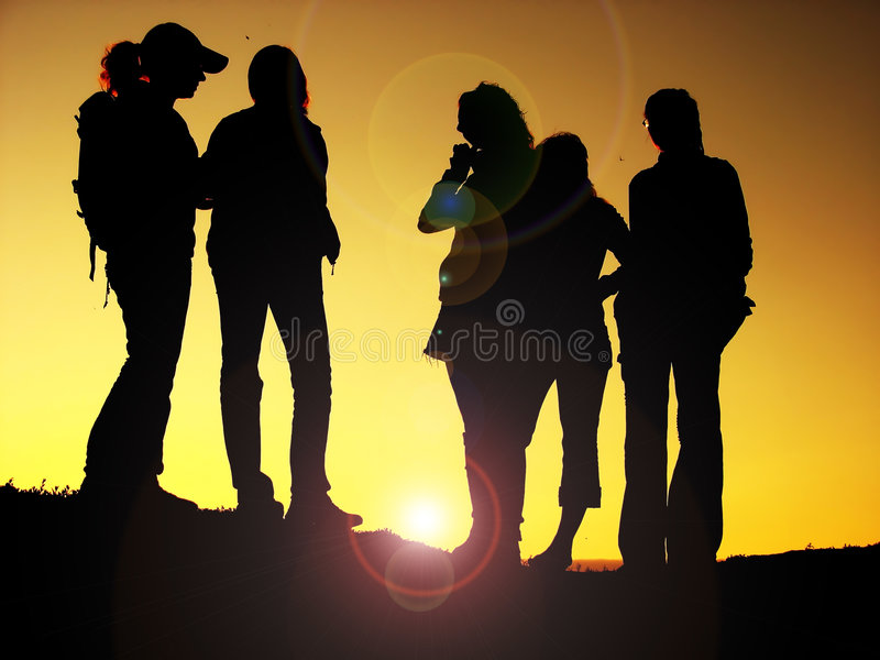 Best friends. Silhouettes posing for a picture stock images