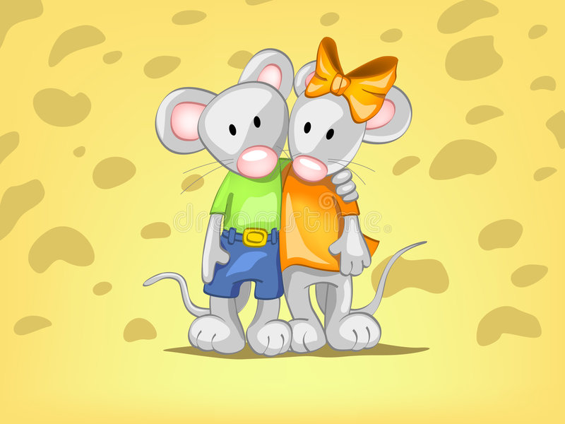 We best friends!. Two mouse on the cheese background
