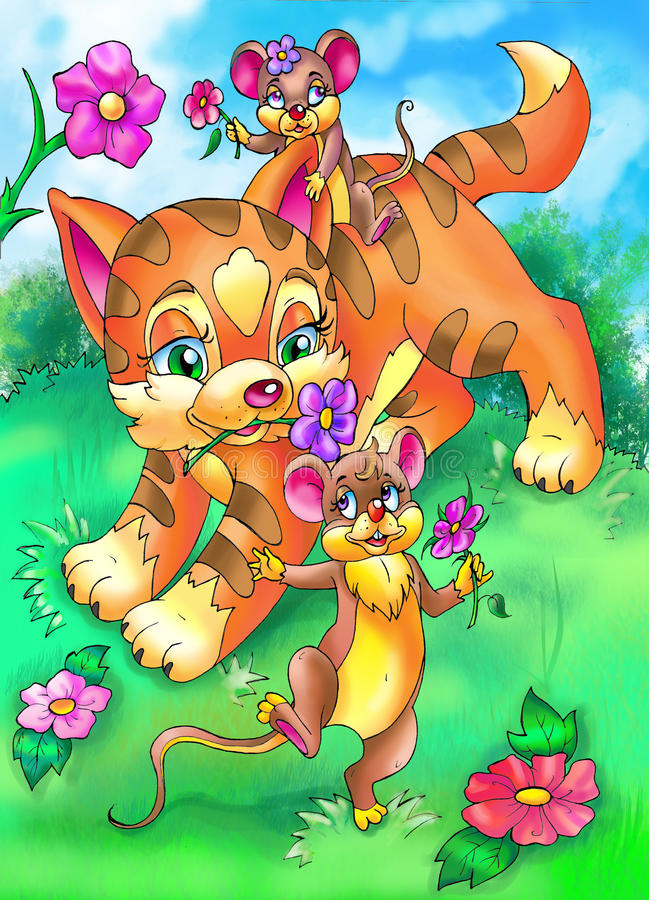 cat and mouses best friends playing royalty free illustration