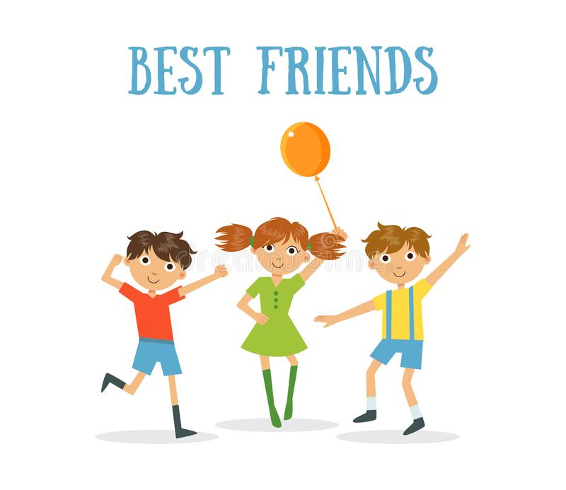 Best Friends Banner, Two Happy Boys and Girl Having Fun Vector Illustration vector illustration