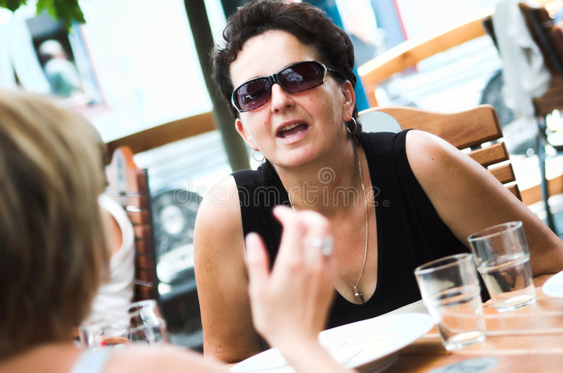 Best friends in a cafe royalty free stock images