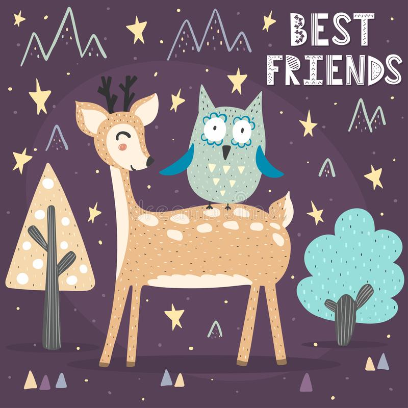 Best friends card with a cute deer and owl stock illustration
