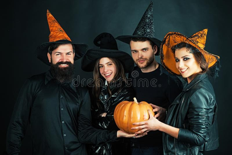 Best friends celebrated Halloween. Halloween poster or greeting card - people concept. Halloween Party group. royalty free stock images