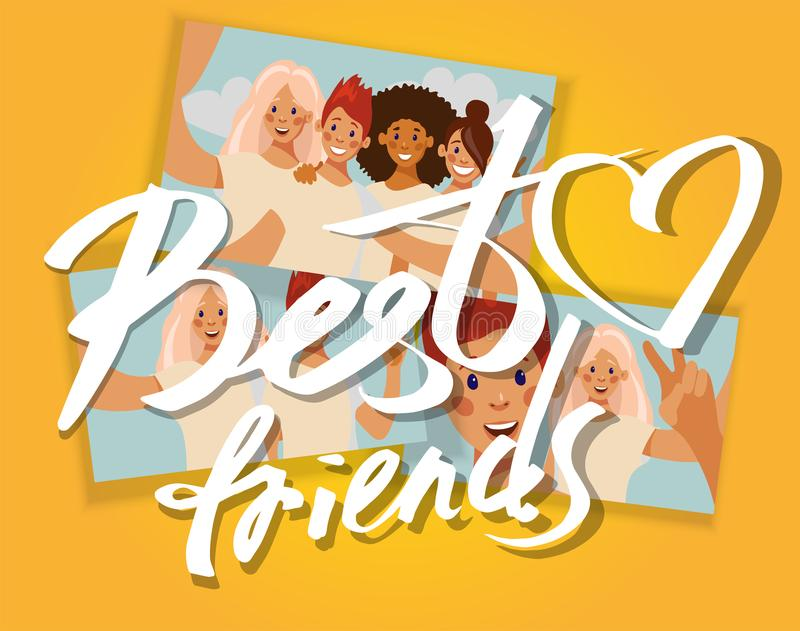 Best friends. Collage of selfie photos of girls stock illustration